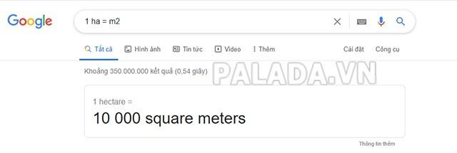 dổi 1 ha bằng google