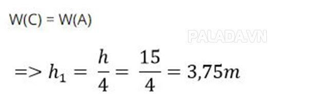 Vị trí của vật khi Wđ = 3 Wt