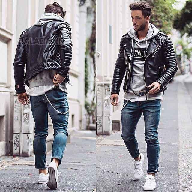 Áo jacket và quần jeans trẻ trung
