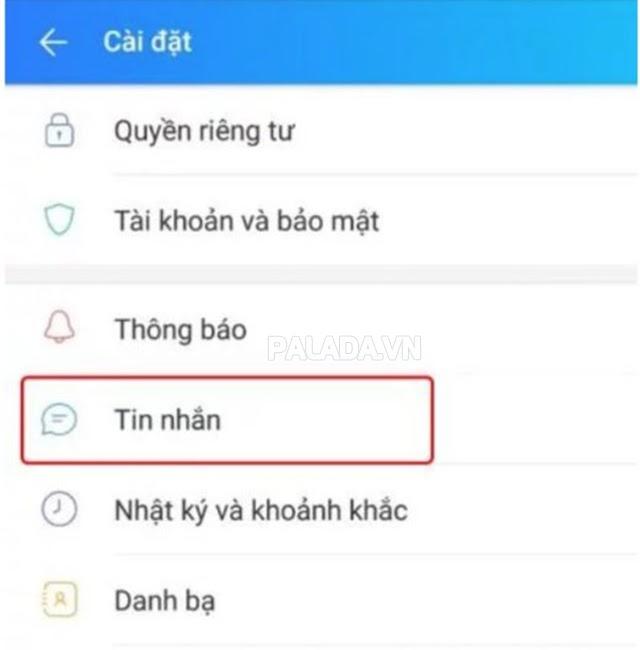 Chọn mục Tin nhắn