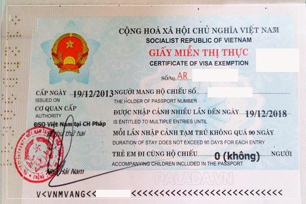 Hình ảnh giấy miễn thị thực của Việt Nam
